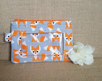 ID Wallet / Keychain Wallet / ID Holder / Organic Cotton / Fox Print