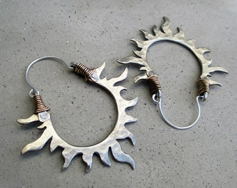 Solar Passion Hoop Earrings, White Bronze, Sun, Flames, Handmade, Mixed Metal, Gypsy, Fire Dancer, Belly Dancer
