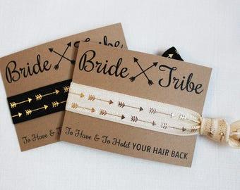Bride Tribe Hair Ties, Elastic Hair Ties, Elastic Wrist Bands/Bracelets, Party Favors, Wedding Favors, Hair Tie Favors