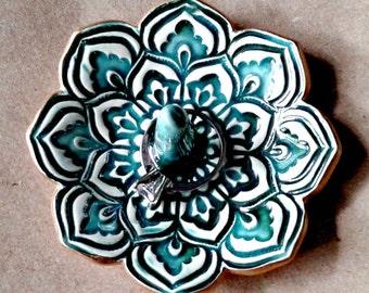 Ceramic Lotus Ring Holder Ring Bowl  Ring Dish gold edged Malachite Green 3 1/4 inches