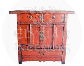 19th Century red lacquered Antique Chinese Asian chest Cabinet 1800's ~ Qing Dynasty ~  accent for your living room