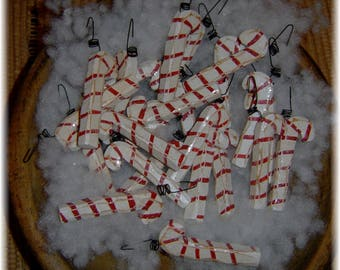 Primitive Glittery Red White Wood Candy Canes Ornament Ornie Christmas Lot 24