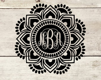 Reverse Flower Mandala monogram decal for YETI 30oz and RAMBLER, Tumblers, Custom Yeti/tumbler decal, Yeti/tumbler decal