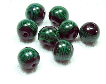 NOW ON SALE Handmade Polymer Clay Beads - Black Round Beads with Emerald Green Wavy Stripes