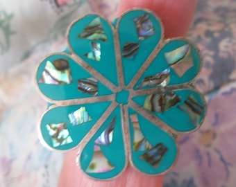 RING - ABALONE - PATINA - Inlay - Turquoise enamel - Flower -  Estate Sale -  Sterling Silver  - Size 7 adj  abalone79