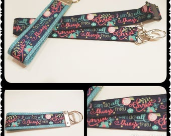 I can do all things thru Christ - Lanyard, Scripture Lanyard, Gift for a Christian, Gifts for Her, New Christian Gift