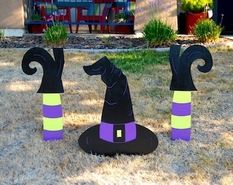 Large Crashed Witch Halloween Decoration, Witch Sign