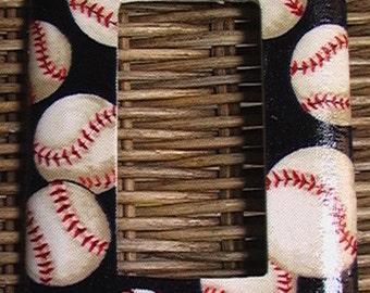Baseball Single GFI Rocker Light Switch Plate Cover