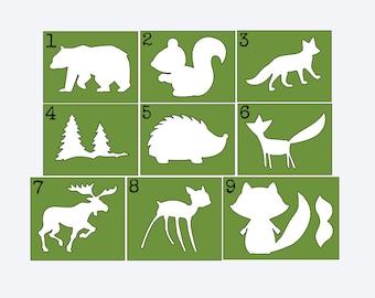 Woodland Animal Stencils for Painting Onesies, Onesie Decorating Kit, Woodland Baby Shower, Woodland Nursery
