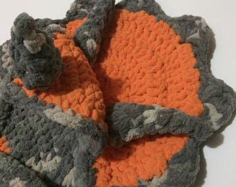 Triceratops Dino Baby Wrapghan/Playmat 0-12mo Handmade Crochet in orange and gray
