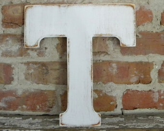 """12"""" Wooden Letter T, Distressed White, Classic Font - all letters available in many colors"""