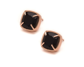 Onyx Stud Earrings - Rose Gold Gemstone Stud Earrings - Black Onyx in Rose Gold - 18k Rose Gold Vermeil - Studs
