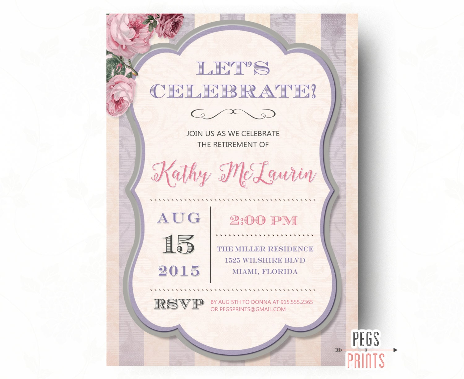 Retirement Party Invitation Shabby Chic Retirement Party