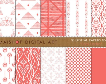 Digital Paper 'Coral Orchid' Soft Red and White Floral, Abstract, Geometric Images for Scrapbook, Invites, Photography...