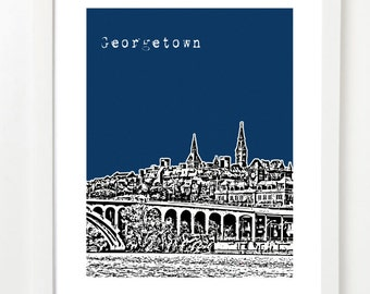 Georgetown Art Print - Washington, DC City Skyline Poster - Georgetown