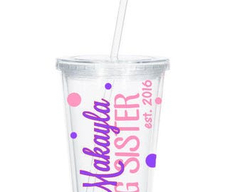Personalized Big Sister Tumbler, Pregnancy Reveal, Big Sister Gift, New Big Sister, Baby Shower, Sibling Gift, Big Sister Cup