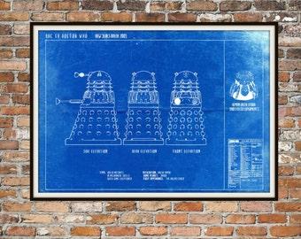 Dr Who Dalek Print Poster, Dr Who Blueprint, Dalek Blueprint, Whovian Gift Exterminate Print Art Item 0219
