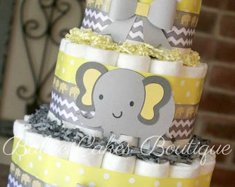Baby Shower Elefante Amarillo ~ Elephant cupcake toppers yellow and grey chevron elephant baby