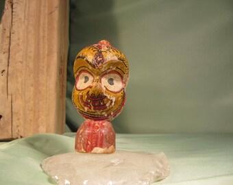 ANTIQUE BALI BUST, Shadow Puppet Replica,Indonesian Folk Art Head,Thailand Antique head,Balinese Folk art Sculpture, Folk art Miniature Bust