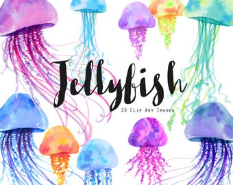 Watercolor Jellyfish 20 Clip Art Images PNG Instant Download, Watercolor Graphics, Handpainted Clip Art, Invitation, Watercolor Illustration