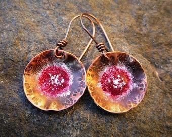 Hammered copper earrings, Enamel earrings, Rustic earrings, Artisan jewelry, Circle earrings, Flower earrings