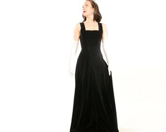 40s Long Black Cotton Velvet Dress - Elegant Simplicity - XS