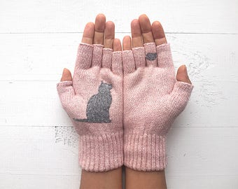 Inspirational Women Gift, Cat Mitten, Cat Lover Gift, Mother's Day Gift, Pink Gloves, Gift For Mother, Gift For Her, Inspirational Gift