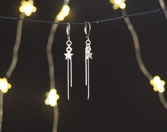 Lucky star earrings (silver-colored brass)