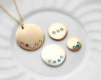 Birthstone Disc Necklace - Personalized Gold Disc Necklace, Silver Disc Necklace, Birthstone Necklace, Mother's Day Gift, Gift Idea For Mom