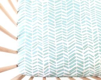 Crib Sheet Aqua Split Chevron. Fitted Crib Sheet. Baby Bedding. Crib Bedding. Crib Sheets. Chevron Crib Sheet.