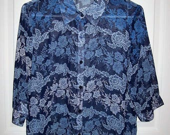 Vintage Ladies Blue Floral Print Semi Sheer Button Front Blouse by Bon Worth Medium Only 8 USD