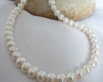 Classic 7-8mm Freshwater Pearl Necklace Ivory White 15 to 20 Inches Scottish