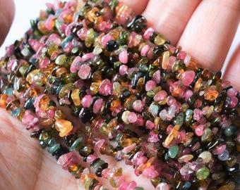 Multi-Tourmaline Beads Tiny Natural Polished Chip Shape Gemstone Rainbow Pink Green Blue Yellow Mix