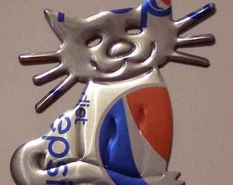 Cat Magnet - 'Whiskers' - Silver Diet Pepsi 'Mini' Soda Can