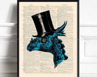 Dinosaur Wall Decor, Boyfriend Gift Print, Wife Poster Gift, Dinosaur Gentleman, Christmas Gift, Name Day Gift, Geek Dinosaur, Wall Art 535
