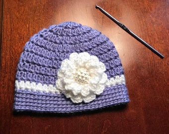 Purple Baby Hat with Flower