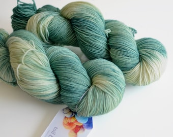 Ent - Hand Dyed Sock Yarn - Pine Green and Cream - Lord of the Rings - Variegated Yarn