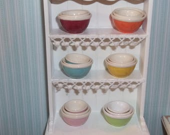 Dollhouse Miniature Kitchen Ceramic Nesting Bowls Mixing Bowls - Set of 3 - Your Choice of Color