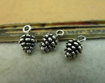 30pcs 5x15mm Antique silver small pine cones pendant , charms Jewelry findings  BC4014