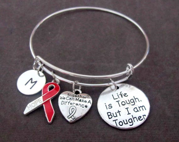 Red Ribbon Awareness Bangle,Life is Tough But I am Tougher,AIDS/HIV, Heart Disease, Substance Abuse,Tuberculosis,Stroke, Free Shippin In USA
