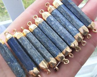 Denim lapis lazuli, Bar pendant, connector pendant, blue pendant, gold pendant, yoga pendant, pendant, jewelry supplies, gold capped