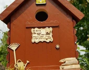 Log Cabin Bird House Handmade