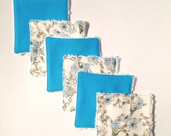 Set of 6 liberty wipes and turquoise cotton. Baby washcloths. French manufacturing