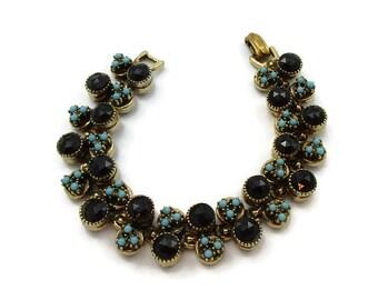 ART Signed Rhinestone Turquoise Seed Beads Bracelet Clasp 7 Inches Designer Signed Gift Idea Vintage Costume Jewelry Gift Ideas Paula