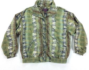 Vintage 90s Windbreaker Jacket Size Large L Boxy Abstract Print Lightweight