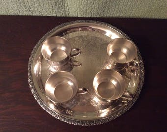 Silver Tray with 4 Cups - Forbes 2971 Tray and Oneida Cups
