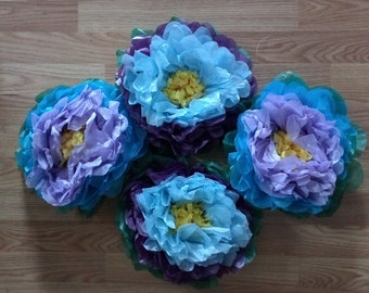 Blue Tissue Paper Tropical Flowers - set of 4