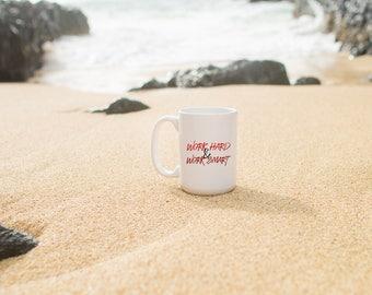 "Motivational Quote Coffee Mug • ""Work Hard & Smart"" • Inspirational Mug • Motivational Mug • Custom Mug"