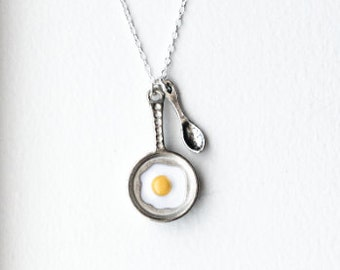 Fried Eggs Necklace- 925 Sterling Silver or Silver Tone Chain- Under 20- Egg & Frying Pan Jewelry- Cook- Food- Chef- Bakers Necklace