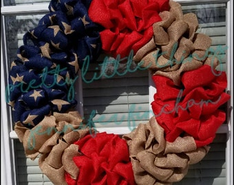 Ready to ship! Patriotic Wreath - Americana - Fourth of July